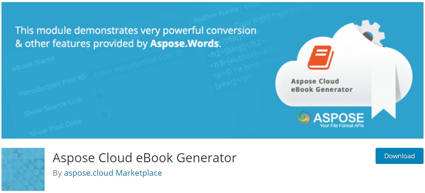 Aspose Cloud eBook Generator